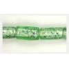 Glass Foil Bead Tube 17x9mm Mint Strung